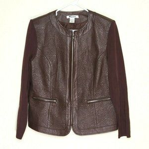 Peter Nygard Brown Leather Rib Knit Jacket Size L
